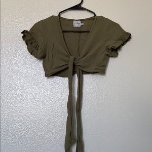 Olive green crop top